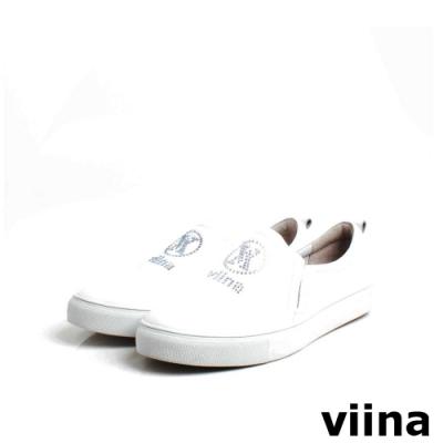 viina 鑲鑽LOGO休閒鞋-白