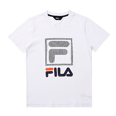 FILA KIDS 童短袖圓領上衣-白色 1TET-4901-WT