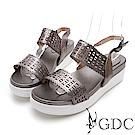 GDC-夏日真皮鐳射金屬風簍空涼鞋-灰色