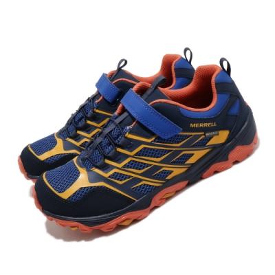 Merrell 戶外鞋 Moab FST Waterproof 女鞋 登山 越野 魔鬼氈 透氣 防水 中大童 藍 黃 MK264179