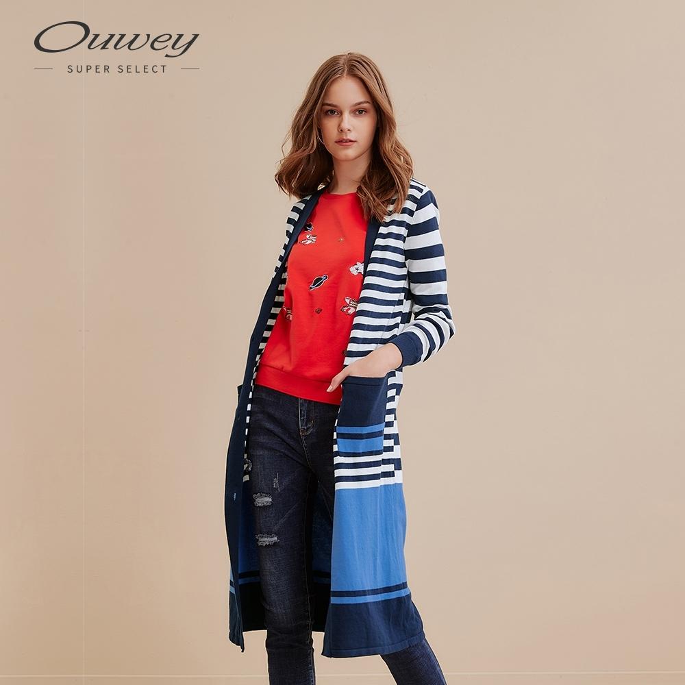 OUWEY歐薇 撞色條紋星星亮片貼布繡長版針織外套(藍)
