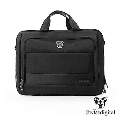 Swissdigital 時尚紳士電腦文件側背包-黑