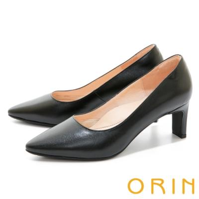 ORIN 典雅素面真皮尖頭 女 高跟鞋 黑色