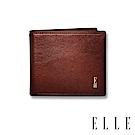 福利品 ELLE HOMME 壓紋Logo3卡窗格簡約真皮短夾-紳士棕