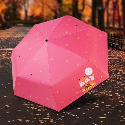 【雙龍牌】狐狸降溫13度黑膠自動開收傘抗UV晴雨傘B6290NB1-蜜桃粉