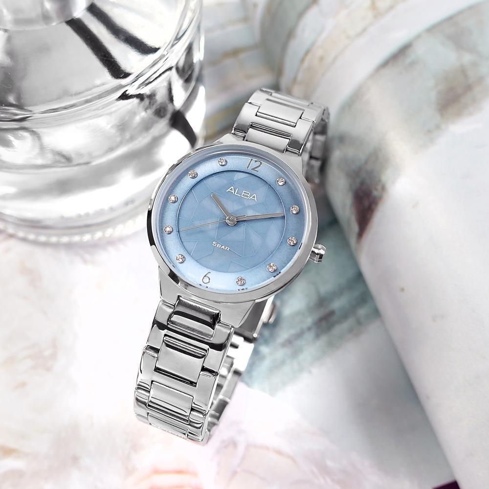 ALBA 不規則紋理 優雅迷人 閃耀晶鑽 不鏽鋼手錶-淡藍色/30mm