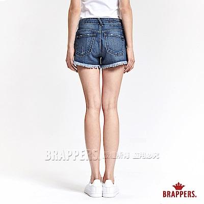 BRAPPERS 女款 Boy Friend 系列-褲口不收邊短褲-藍