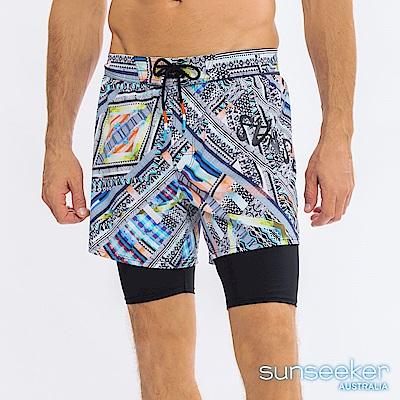 澳洲Sunseeker泳裝男士快乾衝浪雙層泳褲-部落黑