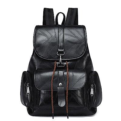 活力揚邑 學院風線紋軟皮革多用大容量休閒雙肩背包