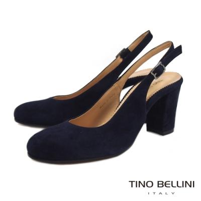 Tino Bellini義大利進口優雅牛麂皮後拉帶高跟鞋_藍