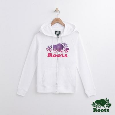 女裝Roots 漸層海狸連帽外套-白
