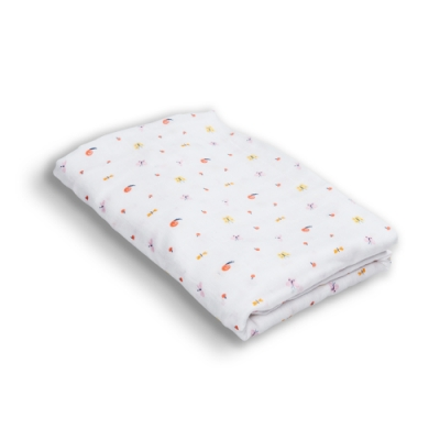 【台灣 Organic B 有機比比】嬰兒有機棉紗包巾-蝴蝶蜻蜓飛