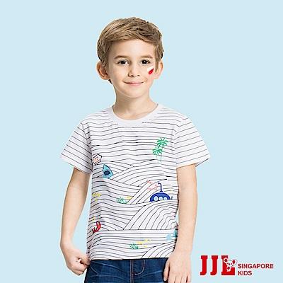JJLKIDS 蔚藍海洋波浪印花純棉T恤(白色)