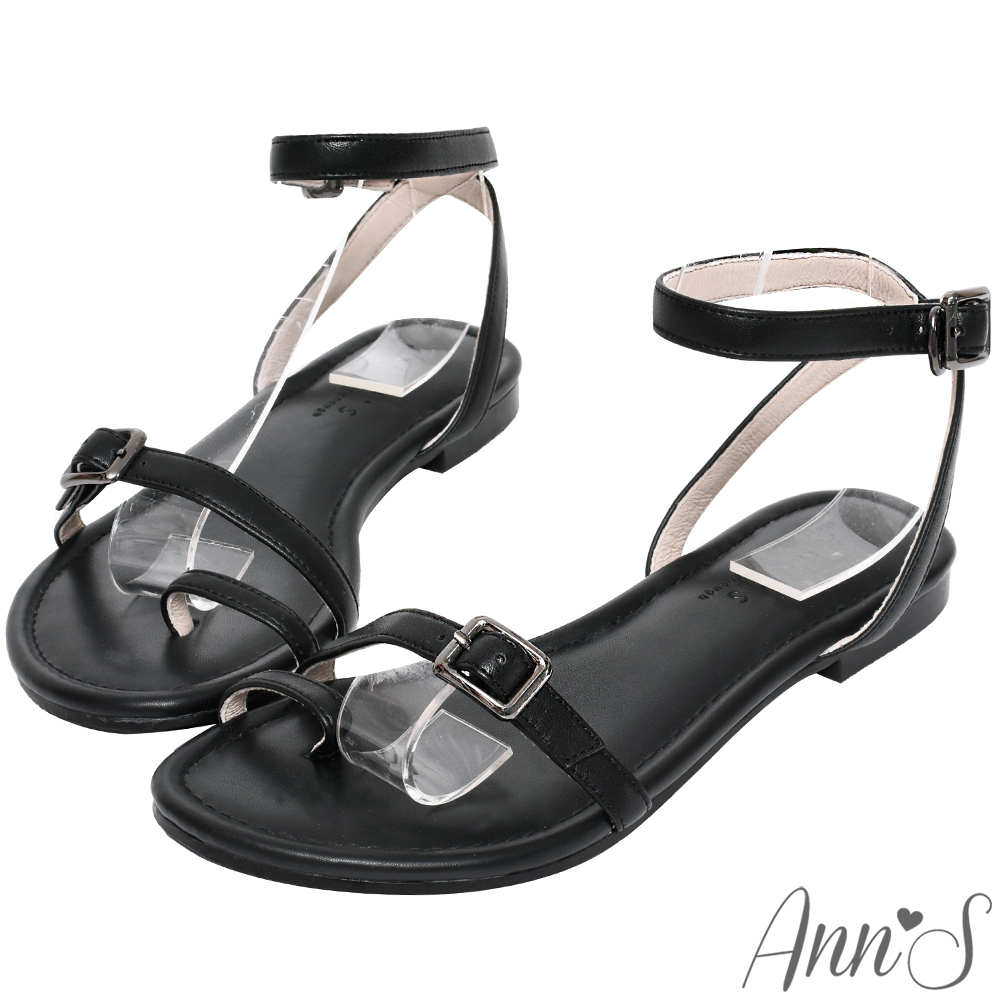 Ann'S散步夕陽下-極簡層次細帶平底涼鞋-黑