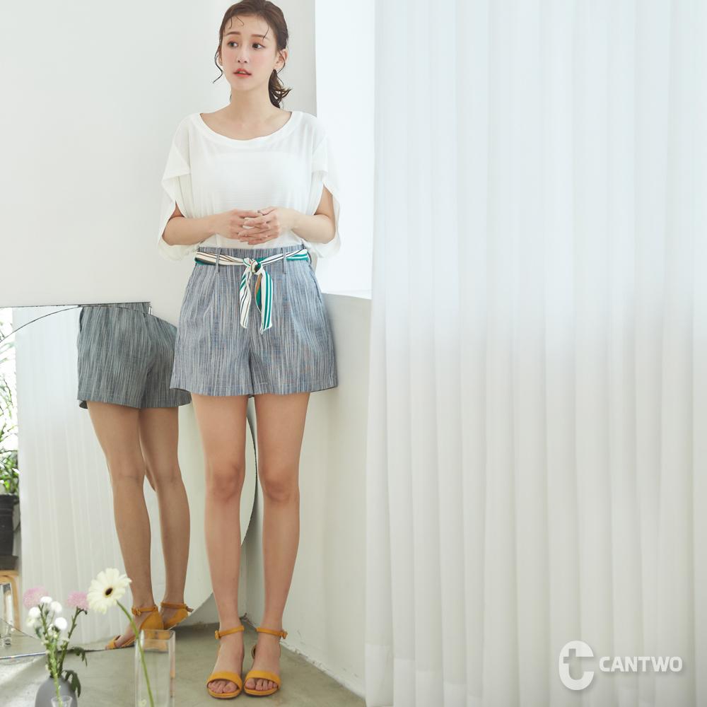 CANTWO附腰帶棉麻混紡短褲-藍白色