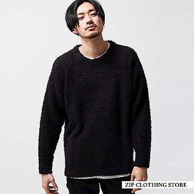 絨毛紗編織圓領針織衫(5色) ZIP日本男裝