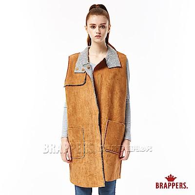 BRAPPERS 女款 麂皮毛呢長版背心-咖啡