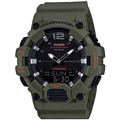 CASIO 經典再現10年電力雙顯電子錶(HDC-700-3A2)/深綠48.8mm