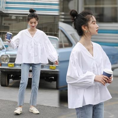 【韓國K.W.】(預購)流行穿搭簡約知性寬鬆素面上衣-2色