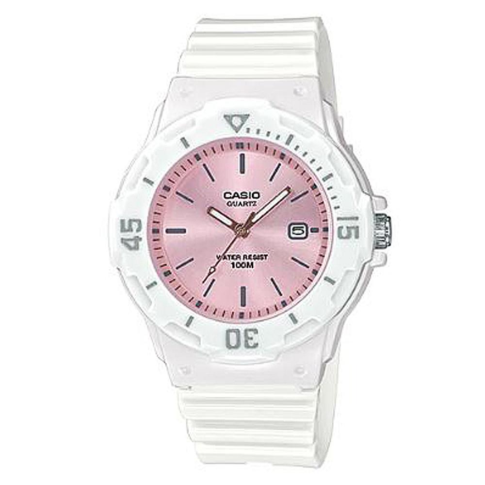 CASIO 簡約錶盤潛水風指針運動錶(LRW-200H-4E3)香檳粉面x白/32mm