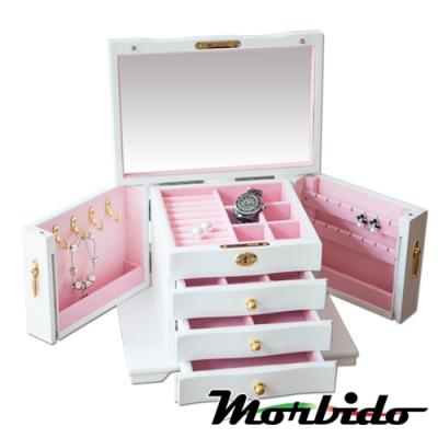 Morbido蒙彼多 雙開四層全鎖松木質珠寶首飾耳環收納盒 珍珠白