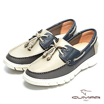 CUMAR 時尚休閒 MIT牛皮綁帶帆船鞋-灰