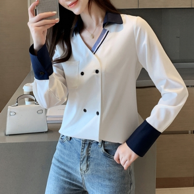 ALLK 配色袖子雪紡衫上衣 白色(尺寸M-XL)