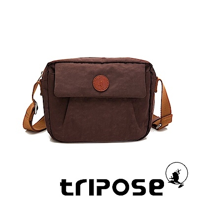 tripose PAN微皺尼龍橫式斜背包-可可咖