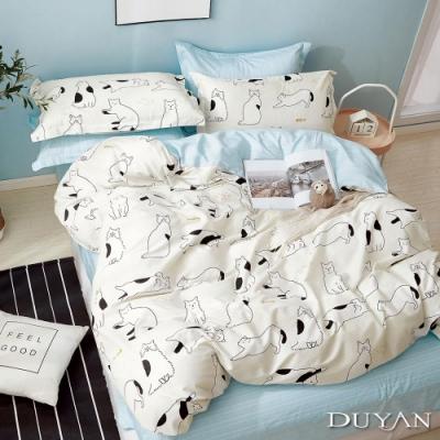 DUYAN竹漾 100%精梳純棉 雙人加大四件式舖棉兩用被床包組-懶洋貓 台灣製