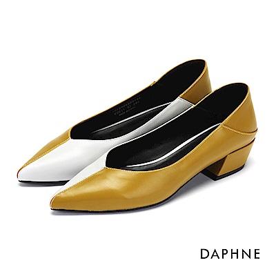 達芙妮DAPHNE 高跟鞋-拼色縫線尖頭高跟鞋-芥末黃