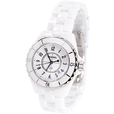 (無卡分期18期)CHANEL J12 H0968 白色精密陶瓷精鋼腕錶-33mm