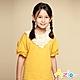 Azio Kids 女童 上衣 領口蕾絲花朵造型澎澎短袖上衣(黃) product thumbnail 1