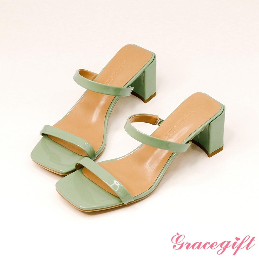 Grace gift-一字雙細帶高跟涼拖鞋 淺綠