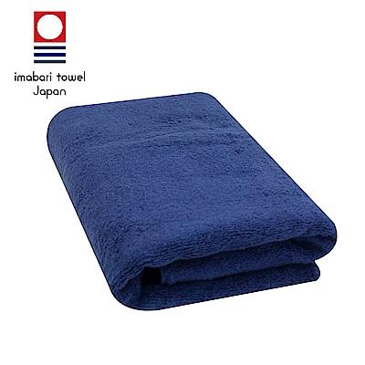 日本今治 輕柔蓬鬆無撚紗素色浴巾(深海藍)