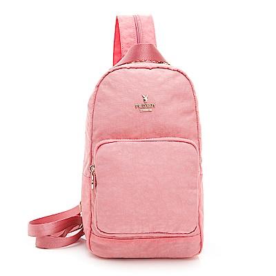PLAYBOY- 單肩背包可後背  皺皺時代系列 -粉色