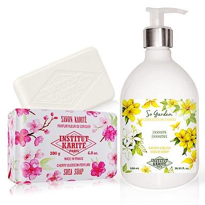 IKP 巴黎乳油木 茉莉花園香氛液體皂500ml+櫻花手工皂200g
