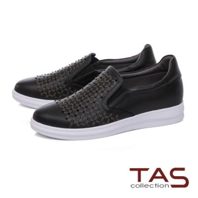 TAS菱格紋拼接水鑽牛皮休閒鞋-個性黑