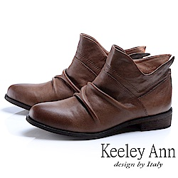 Keeley Ann 俏皮性格~小精靈質感抓皺全真皮短靴(駱駝色)