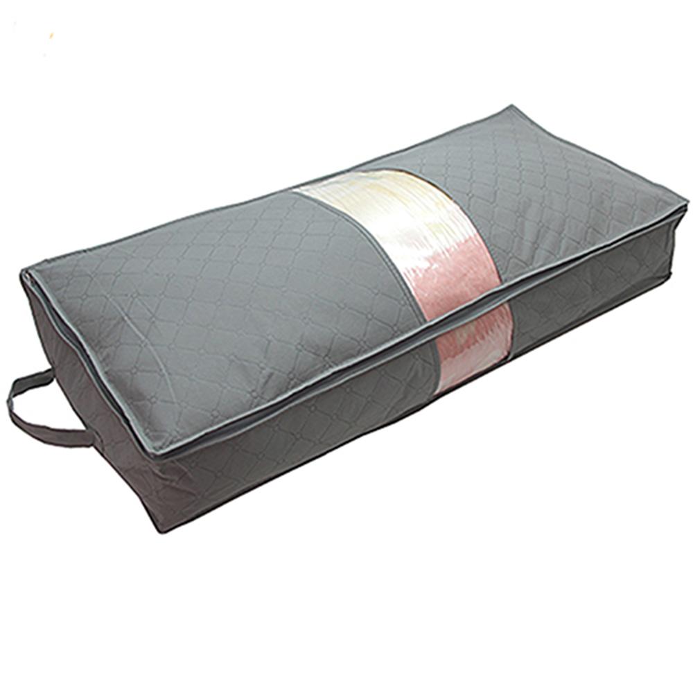 月陽灰色長85CM竹炭棉被衣物床下收納袋整理箱(N70L)