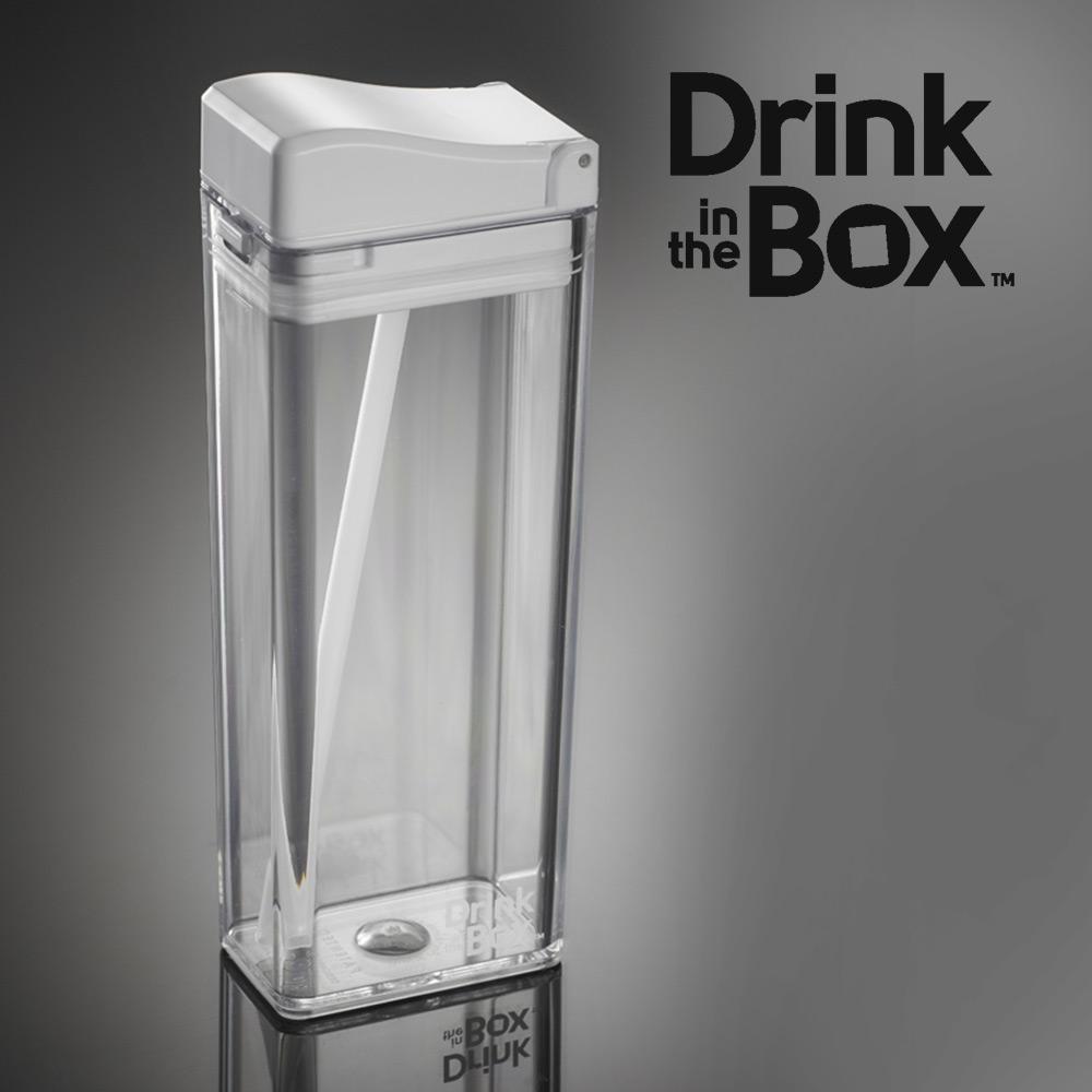加拿大Drink in the box 兒童戶外方形吸管杯(大)-355ml-透明白