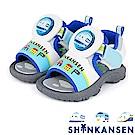 ShinKanSen新幹線  輕量雙黏扣帶電燈涼鞋童鞋-白藍