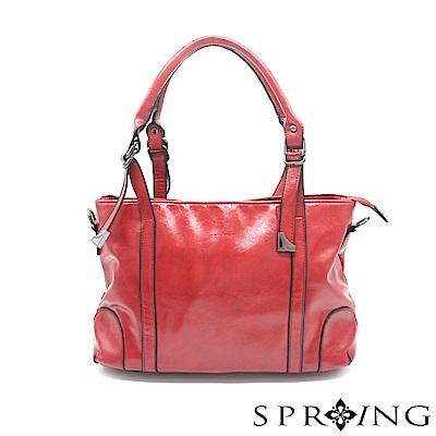 SPRING-華麗的光澤托特包-魅力紅