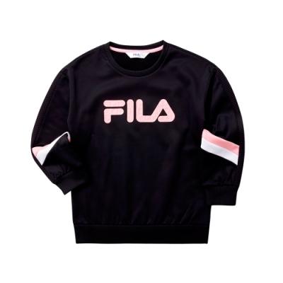 FILA KIDS 女童針織長版T恤-黑 5TET-8411-BK