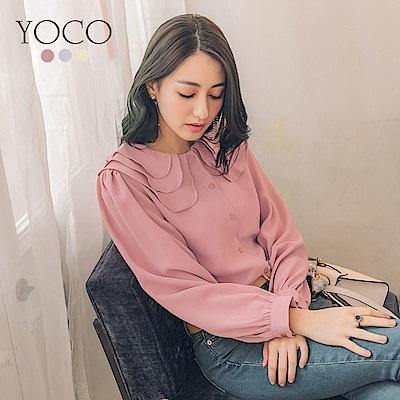 東京著衣-yoco IG爆款多色甜美層次領長袖襯衫-S.M.L(共三色)