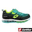 LOTTO 義大利 童 編織氣墊跑鞋(黑/綠)