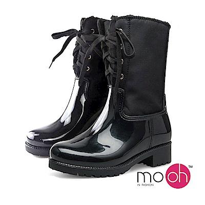 mo.oh-.歐美雪地保暖拼接拉鍊中筒雨靴-黑色