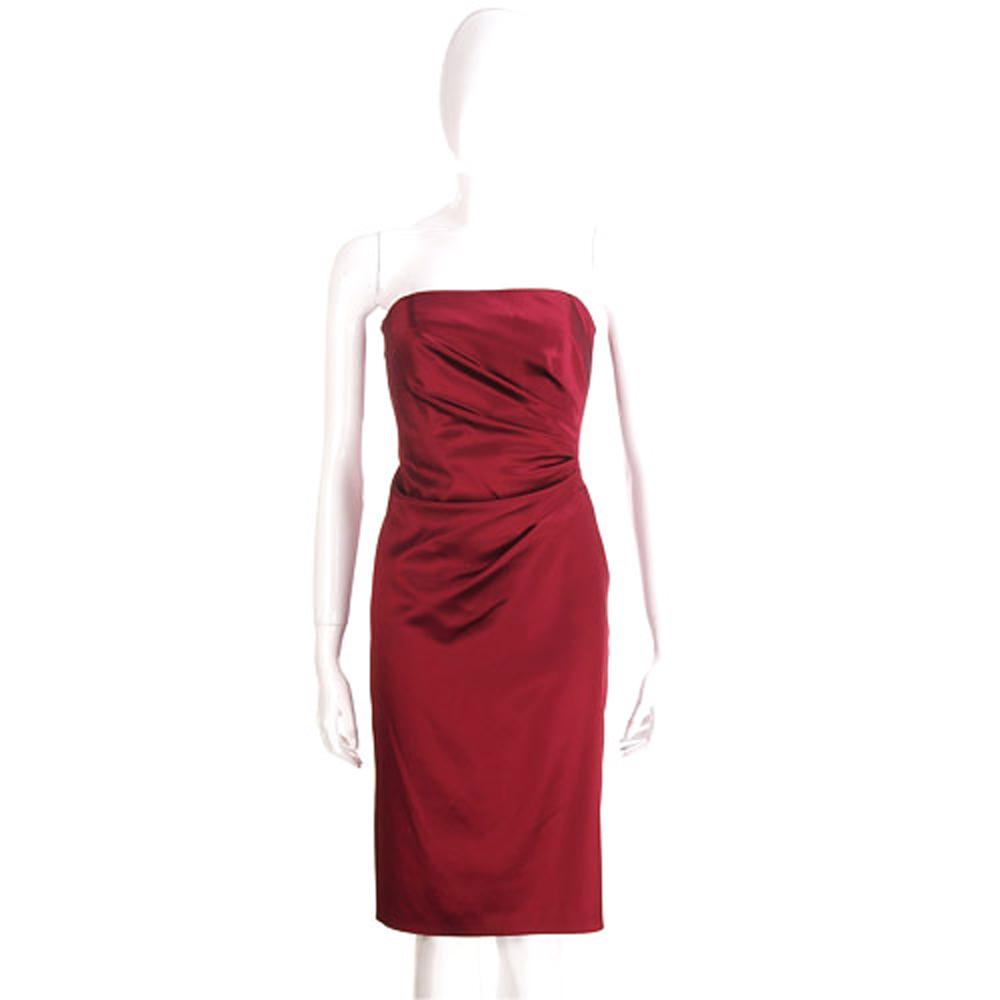 PHILOSOPHY 紅色抓褶緞面平口洋裝(展示品)