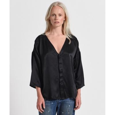 ONETEASPOON LONGLINE SHIRT 黑色 寬鬆V領襯衫-女