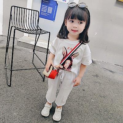 小衣衫童裝  中小童兔耳女孩印刷短袖中褲套裝1080404