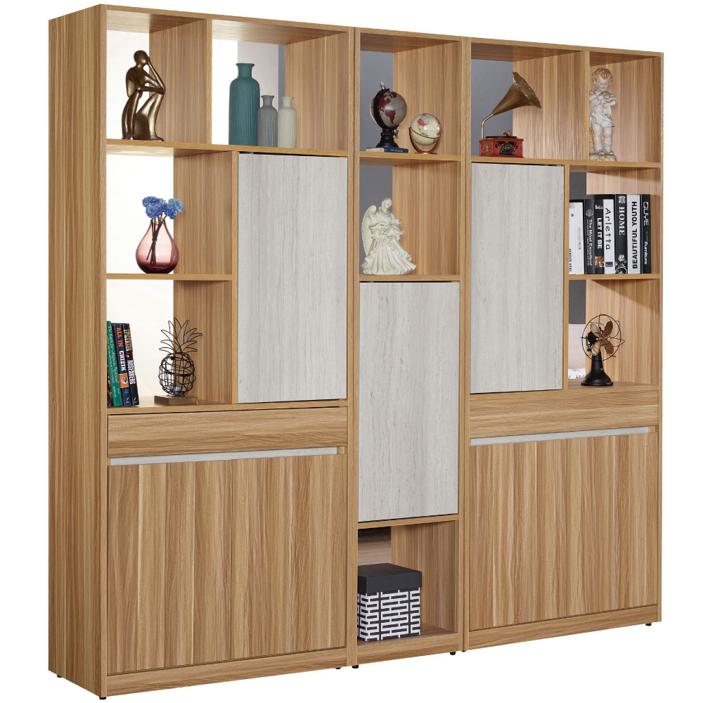 文創集 杜爾時尚6.7尺多功能雙面隔間櫃/玄關櫃組合-200x40x197cm免組